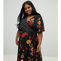 Influence Plus kimono sleeve wrap dress in mix and match print - Black floral & spot