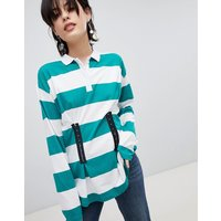 ASOS Polo Top in Rugby Stripe with Corset Detail - Green  and white
