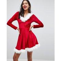 Club LClub L cHRISTMAS Sexy Santa Hooded Skater Dress With Faux Fur Trim - Red