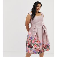Chi Chi London Plus midi dress with square neck in dusty floral print