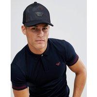 Emporio Armani Velour Logo Baseball Cap In Black - Black