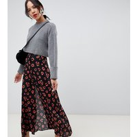 ASOS DESIGN Tall exclusive maxi skirt with button front in leopard print