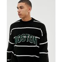New Look crew neck stripe jumper with Boston lettering - Black