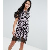 ASOS PetiteASOS PETITE Sleeveless T-Shirt Dress With Lace Inserts In Leopard Print - Lilac animal