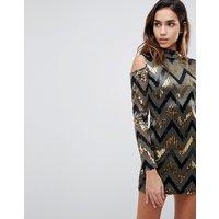 AX ParisAX Paris Chevron Multi Sequin Cold Shoulder Party Dress - Gold multi