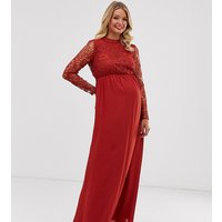 ASOS DESIGN Maternity midi dress with long sleeve lace top - Brick red