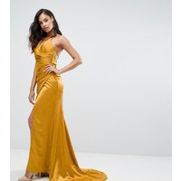 BarianoBariano Drape Satin Gown With Strappy Back - Gold