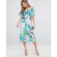 Every CloudEvery Cloud Palm Print Bardot Midi Dress - Pink/green palm prin