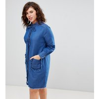 Lost Ink PlusLost Ink Plus Denim Swing Dress With Frayed Pockets - Blue