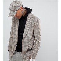 Add Oversized Blazer In Stone Check - Stone