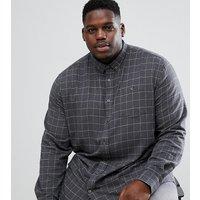 Duke King Size long sleeve button down shirt in windowpane check - Grey