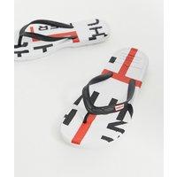 Hunter Original logo flip flops in white - Multi