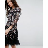 Needle & Thread Posy Embroidered Long Sleeve Dress - Black
