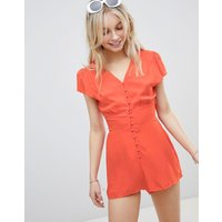 Brave Soul Garden V Neck Playsuit With Button Front - Tomato Red