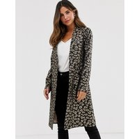Helene Berman Edge To Edge Duster Coat In Leopard Print
