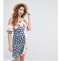 ASOS MaternityASOS Maternity Mix Print Cold Shoulder Dress - Multi
