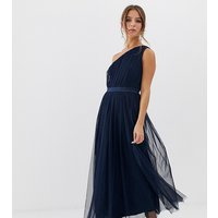 Anaya With Love tulle one shoulder midaxi dress with satin trim in navy - Navy peony