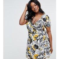 NVMENVME Plus Tea Dress With Wrap Front - Multi