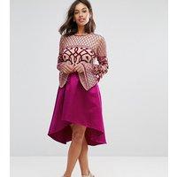 Maya Petite Allover Embellished Top Midi Dress With Assymetric Skirt - Fuschia