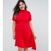 ASOS CurveASOS CURVE Mini Tea Dress with Open Back - Red