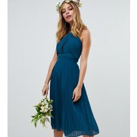 TFNC Petite pleated bridesmaids midi dress in petrol blue - Petrol blue