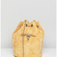 Sacred Hawk Faux Suede Shoulder Bag With Ram Head - Tan