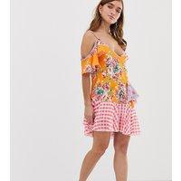 Jaded London PetiteJaded London Petite Mix Print Layered Mini Dress - Multi