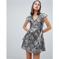 Religion purity metallic sequin shift dress