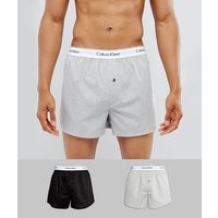 Calvin Klein Woven Boxers 2 Pack In Slim Fit - Black/grey