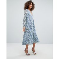 Traffic People Contrast Lace Overlay Maxi Dress - Green