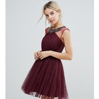 Little Mistress Petite Embellished Mesh Top Full Prom Skater Dress - Berry