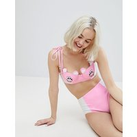 Lazy Oaf Bear Happy Bikini Bottom - Pink