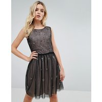 Amy Lynn Star Print Chiffon Overlay Dress - Black
