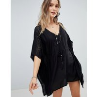 Accessorize Geo Lace Insert Kaftan - Black