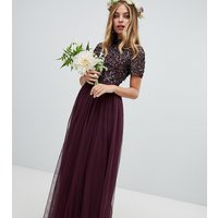 Maya Petite high neck maxi tulle dress with tonal delicate sequins in berry - Berry