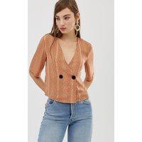 Glamorous button front cropped blouse in subtle spot - Mocha spot