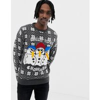 Brave Soul Christmas Chilling Snowmen Jumper - Grey