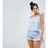 Pijama de pantalones cortos y camiseta de tirantes con volante y diseño a rayas EXCLUSIVO de ASOS CURVE