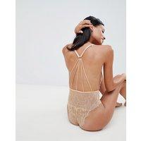 Asos Design Angelika Lace Bodysuit - Nude