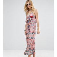 White Cove TallWhite Cove Tall Frill Layered Maxi Dress In Bright Floral Print - Multi