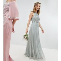 Maya Petite Sleeveless Sequin Bodice Tulle Detail Maxi Bridesmaid Dress With Cutout Back - Green lily
