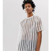 Milk It Vintage oversized t-shirt in sheer stripe - White