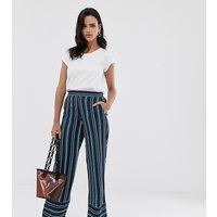 Esprit stripe wide leg trouser in navy and green stripes - Multi