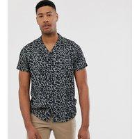 Jacamo rever collar shirt in leopard print - Black