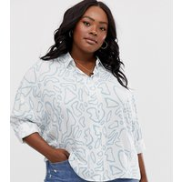 ASOS DESIGN Curve long sleeve cropped shirt in soft abstract print - Multi
