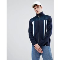 Pretty Green zip-thru funnel neck cardigan in navy - Dark navy