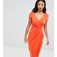 City Goddess Petite Bardot Wrap Over Pencil Midi Dress - 1463