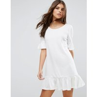 VilaVila Drop Hem Shift Dress With Frill Sleeve - White jersey