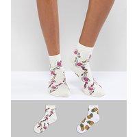 Pack de 2 calcetines con diseños brillantes de piñas y flamencos de ASOS DESIGN