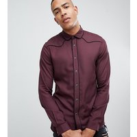 ASOS DESIGN Tall regular fit western viscose shirt in burgundy - Burgundy
